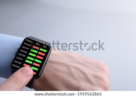 Businessman checking forex trading, stock market price from smart watch app. Trading concept