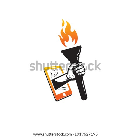 Mobile torch flame logo template design