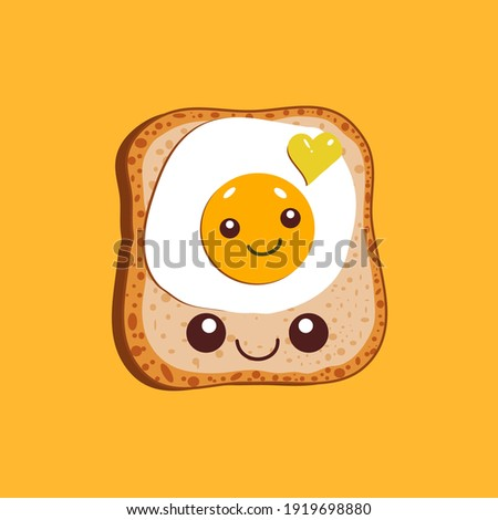 Egg sandwich. Slice of bread and fried egg isolated on yellow background. Vector illustration. Royalty-Free Stock Photo #1919698880