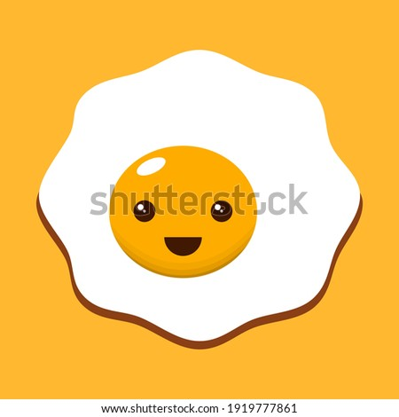 Kawaii fried egg on yellow background. Vector illustration. Royalty-Free Stock Photo #1919777861