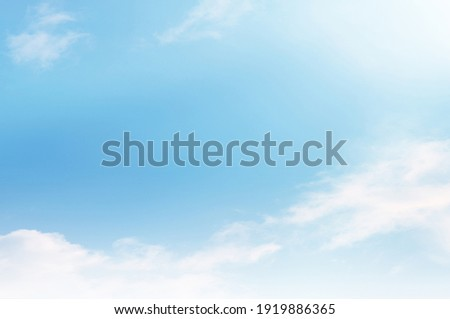 Blue sky with white cloud. Blue background. The summer sky is colorful clearing day and beautiful nature in the morning. for backdrop decorative and wallpaper design. The perfect sky background. Royalty-Free Stock Photo #1919886365