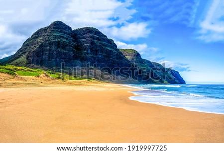 Mountain sand beach landscape. Sea shore sandy beach. Sea beach at mountain. Sandy beach landscape Royalty-Free Stock Photo #1919997725