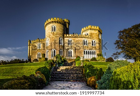 Small stone castle. Stair to manor house. Small castle stair. Stone mansion landmark Royalty-Free Stock Photo #1919997734