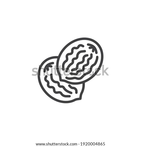 Nutmeg seed line icon. linear style sign for mobile concept and web design. Nutmeg nut outline vector icon. Symbol, logo illustration. Vector graphics Royalty-Free Stock Photo #1920004865