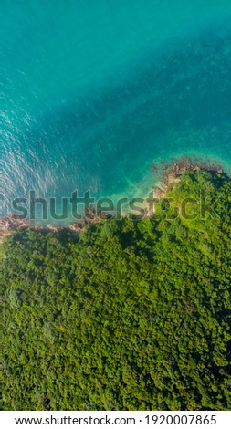 Coastline of Thailand country, Ko Phangan, aerial drone point of view  Royalty-Free Stock Photo #1920007865