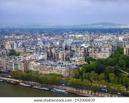PARIS - MAY 2, 2013 . City view from the Eiffel tower in cloudy weather #192000839
