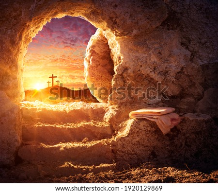 Empty Tomb With Crucifixion At Sunrise - Resurrection Concept Royalty-Free Stock Photo #1920129869