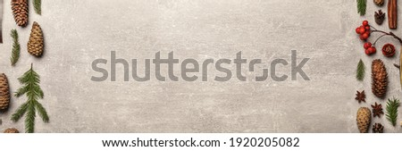 Flat lay composition with pinecones on light grey background, space for text. Horizontal banner design Royalty-Free Stock Photo #1920205082
