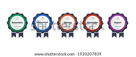 digital certification logo for training, competition, rewards, standards, and criteria etc. Certified badge icon with ribbon vector illustration. Royalty-Free Stock Photo #1920207839