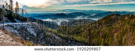 Mountain hill valley panoramic landscape. Mountain hill valley river. Mountain valley landscape. Mountain landscape