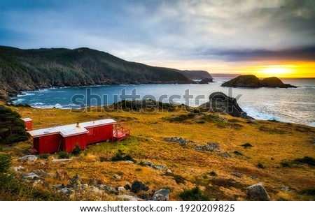 Mountain sea bay cabin landscape. Coastal sea bay cabin. Seashore costal cabin. Cabin on seashore Royalty-Free Stock Photo #1920209825
