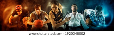 Sport collage. Judo, cycling, running, rugby, basketball and boxing players. Fit woman and men standing on black background Royalty-Free Stock Photo #1920348002