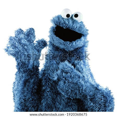 Cookie monster blue isolated with white background