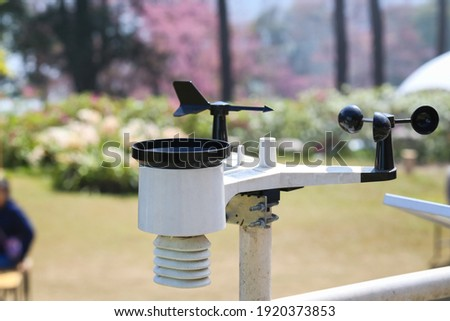 Weather station or a meteorological instrument with solar cell system to measure the wind speed. Royalty-Free Stock Photo #1920373853