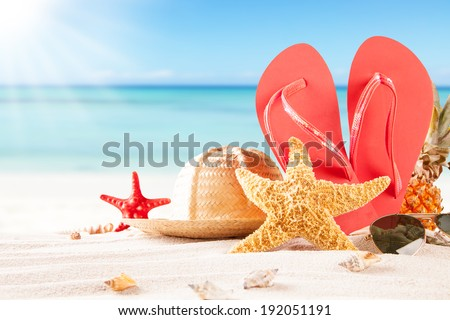 Summer concept of sandy beach, straw hat, shells and starfish. #192051191