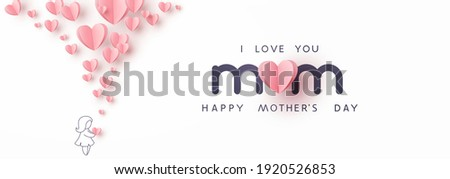 Mother's day greeting card. Vector banner with girl and flying pink paper hearts. Symbols of love on white background Royalty-Free Stock Photo #1920526853