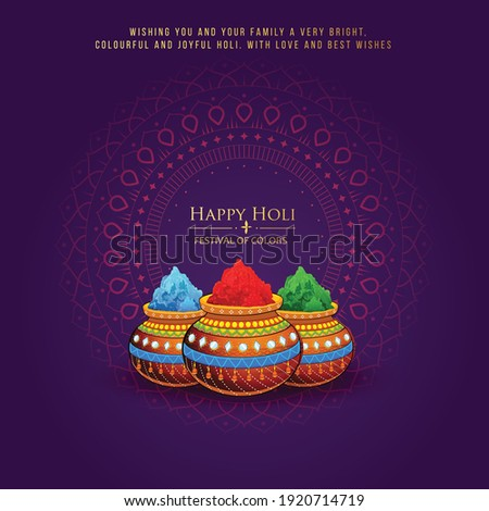 Happy Holi indian hindu festival of colors greeting orange background with colorful green, blue, red powder , banner, poster, creative, flyer  Royalty-Free Stock Photo #1920714719