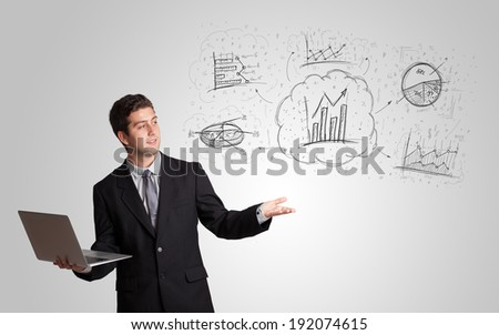 Business man presenting hand drawn sketch graphs and charts concept