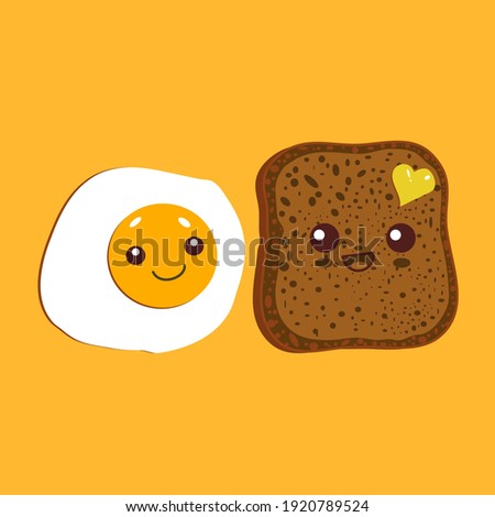 Kawaii breakfast. Slice of bread and fried egg isolated on yellow background. Vector illustration. Royalty-Free Stock Photo #1920789524