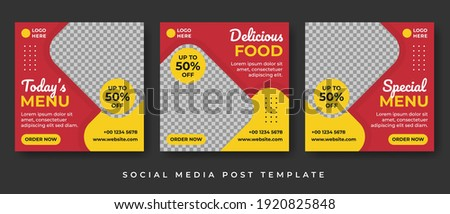 Set of Editable Square Banner Template Design Vector with Photo Collage for Food, Restaurant and Culinary Promotion, Suitable for Social Media Post and Online Advertising. Royalty-Free Stock Photo #1920825848