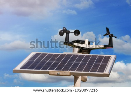 Weather station or a meteorological instrument with solar cell system to measure the wind speed. Royalty-Free Stock Photo #1920899216