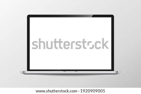 Modern laptop computer vector mockup isolated on white. illustration
