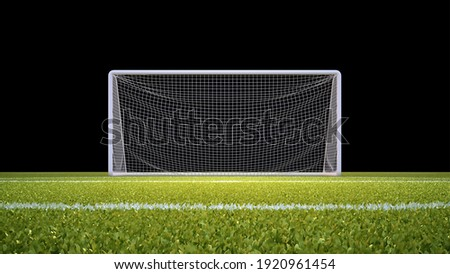 Soccer goal with lawn and black background with clipping mask included. 3D illustration.