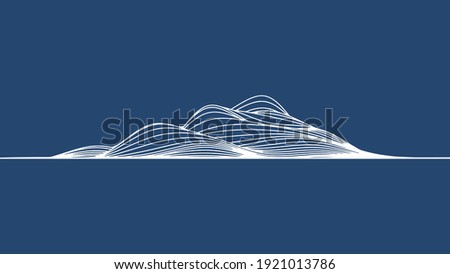 abstract elevation wavy topography strip line for concept about minimal mountain , hill , wave form. Royalty-Free Stock Photo #1921013786