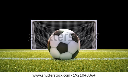 Soccer ball and goal net with lawn and black background with clipping mask included. 3D illustration.