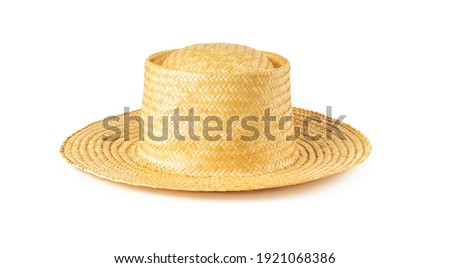 Yellow wide brim straw hat isolated on white background. Summer female vintage classic headwear. Stylish modern eco-friendly accessory for beach, vacation and travel. Front view.  Royalty-Free Stock Photo #1921068386