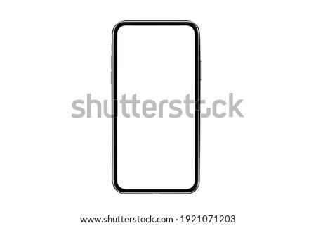 Smartphone with blank screen. Realistick cell phone can be a template for infographics or presentation of interface. Frame less smartphone. Vector Illustration UI-UX design tech