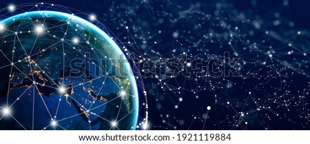 Global Social Network and Business Connection Concept. Future of the internet and technology. Elements furnished by NASA. Copy space. Royalty-Free Stock Photo #1921119884
