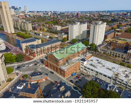 Boston Symphony Hall aerial view at 301 Massachusetts Avenue in Back Bay, Boston, Massachusetts MA, USA. Symphony Hall was built in 1900.