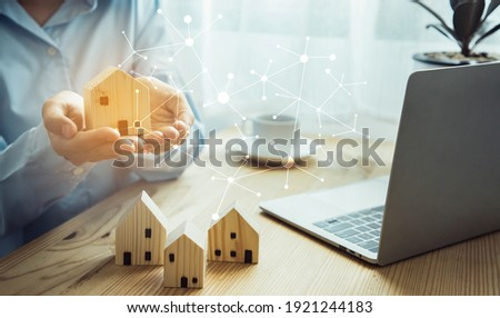 Business woman doing real estate business with an online system. Building a long-term network of investors. Concept of finance and investment of houses and buildings. illustration graphics design