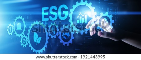 ESG Environment social governance investment business concept on screen. Royalty-Free Stock Photo #1921443995