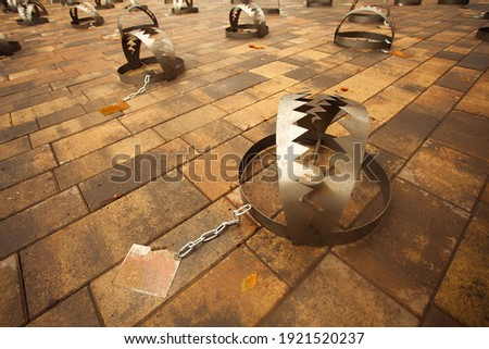 Human rights, multiple victims concept. Metal bear traps on the city road. Text space. Outdoor shot Royalty-Free Stock Photo #1921520237