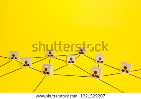 Network of connected people. Interaction between employees and community members. Social communication. Information exchange relations. Unity cooperation. Distribution responsibilities between workers Royalty-Free Stock Photo #1921529207