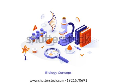 Conceptual template with microscope, Petri dishes, lab equipment. Scene for learning biology, microbiology, medicine. Isometric vector illustration for internet university course advertisement. Royalty-Free Stock Photo #1921570691