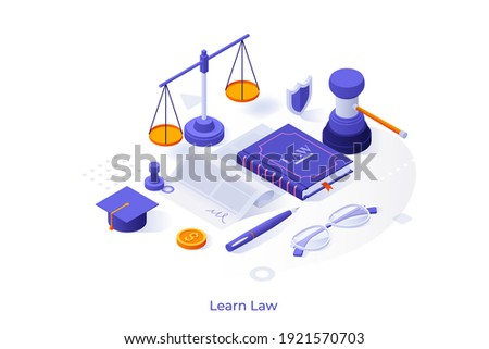 Conceptual template with book, scale, document, gavel, graduation cap. Scene for learning law, studying jurisprudence, legal protection course. Modern isometric vector illustration for website. Royalty-Free Stock Photo #1921570703
