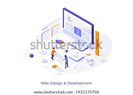 Conceptual template with computer and people building website interface. Scene for web design and development, site builder online tool or service. Modern isometric vector illustration for webpage. Royalty-Free Stock Photo #1921570706