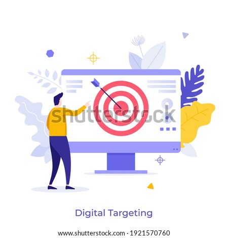 Man looking at computer screen with shooting target and arrow in center. Concept of digital targeting marketing strategy, business goal, objective of startup project. Modern flat vector illustration. Royalty-Free Stock Photo #1921570760