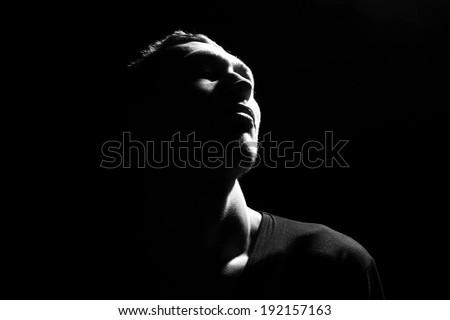Awe. Male head profile silhouette .Dramatic theater performance #192157163