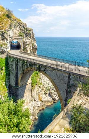 The Amalfi Drive road in the rocks, picture coast, Campania, Italy