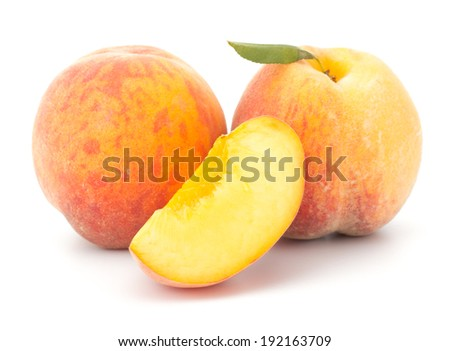 Ripe peach fruit isolated on white background #192163709