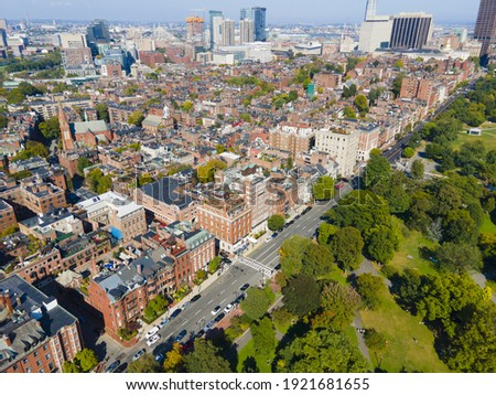 Historic Boston Beacon Hill aerial view, Boston, Massachusetts MA, USA.