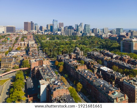 Historic Boston Beacon Hill and Public Garden aerial view, Boston, Massachusetts MA, USA.
