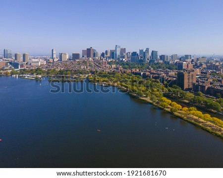 Boston financial district modern city skyline aerial view with Charles River, Boston Common and Beacon Hill historic district in downtown Boston, Massachusetts MA, USA.