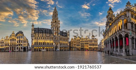 Brussels Belgium, sunset panorama city skyline at famous Grand Place town square Royalty-Free Stock Photo #1921760537