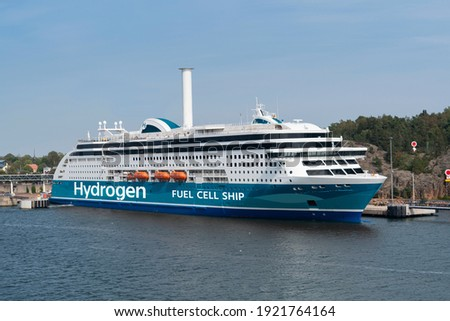 Concept of hydrogen fuel cell ferry ship Royalty-Free Stock Photo #1921764164