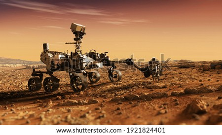 Mars Rover Perseverance exploring the red planet. Mission to explore the red planet. search for traces of life. Elements of image furnished by NASA Royalty-Free Stock Photo #1921824401